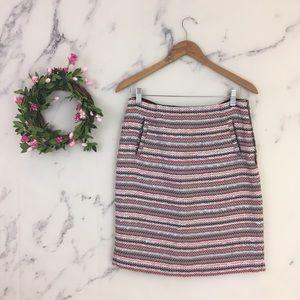 Halogen Tweed Striped Pencil Skirt